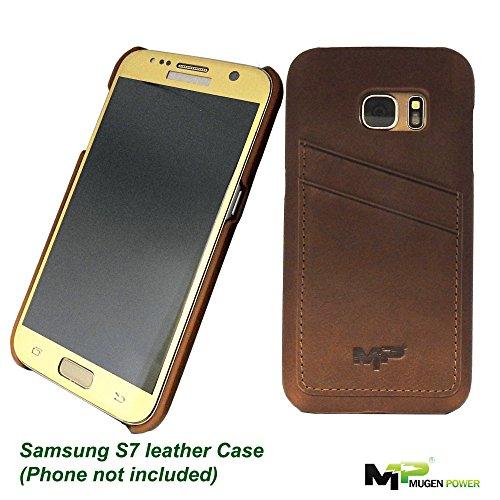 Funda de cuero de la galaxia S7 de Samsung, poder de Mugen [Serie clásica] Parte superior de lujo verdadera del cuero genuino de la caja de cuero con las ranuras para tarjeta de la tarjeta de crédito