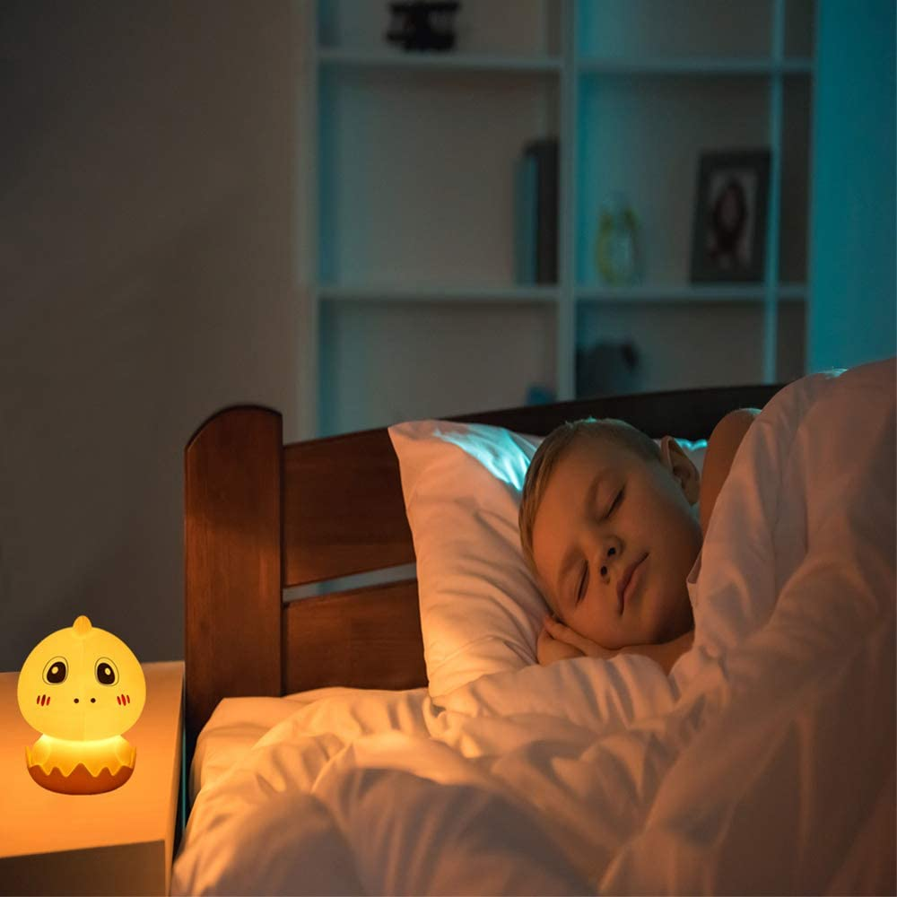 AVEKI LED Cute Silicone Animal Night Lamp Colorful Lighting Tap Control Model Brightness Adjustable with Remote-Baby Gifts for Nursery Kids Bedroom Living Room Home Night Light for Kids Yellow
