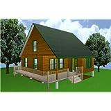 Amazon com : 24x40 Cabin W/loft Plans Package, Blueprints, Material