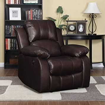Handy Living ProLounger Renu Leather Electric Power Wall Hugger Recliner Brown