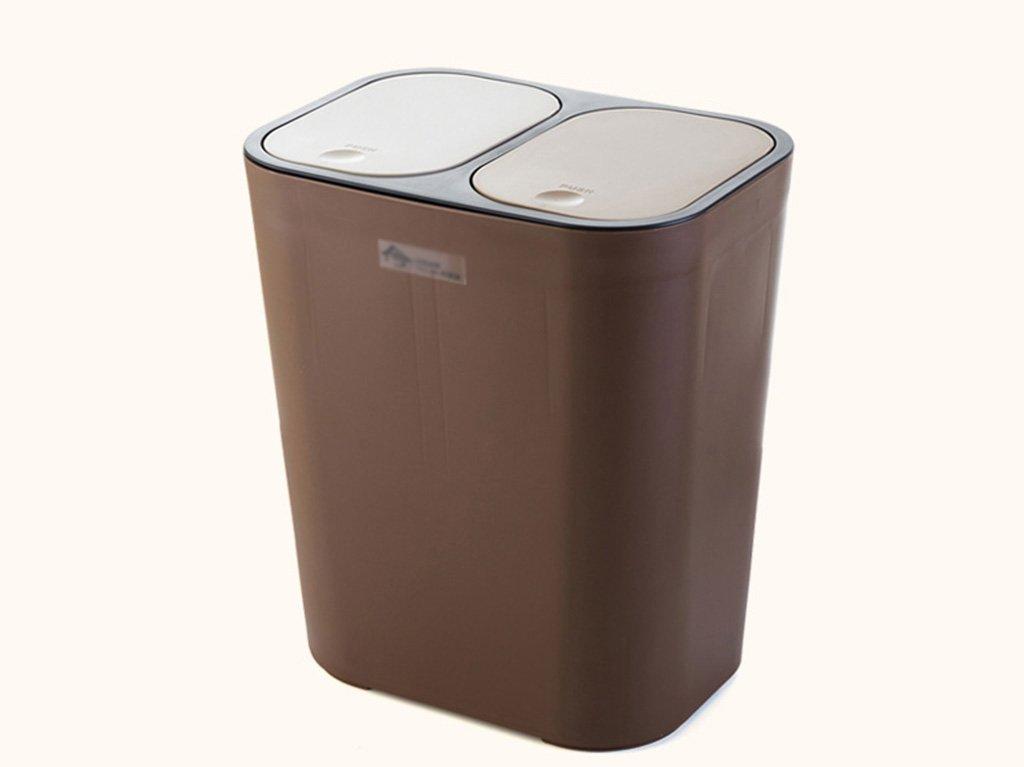 Hyzb Bidone per rifiuti doppio, tipo a pressione Bidone a doppio scomparto per separazione dei rifiuti, bidone della spazzatura da giardino (Colore : Beige)