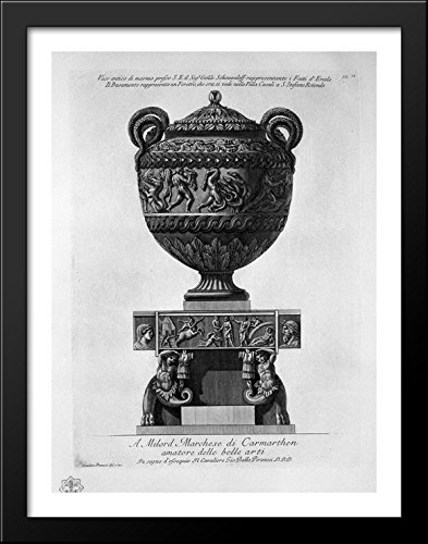 Piranesi Vase - Antique vase of marble representing the feats of Hercules, with the base representing a coffin 28x36 Large Black Wood Framed Print Art by Giovanni Battista Piranesi