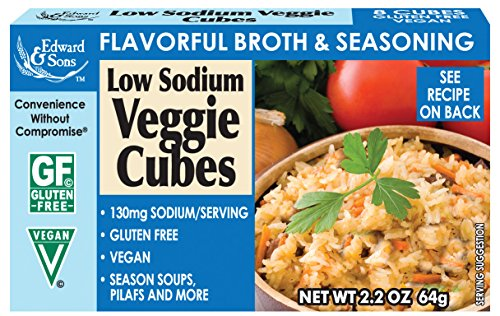 Edward & Sons Low Sodium Veggie Bouillon Cubes, 2.2-Ounce Boxes (Pack of 12)