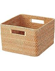 Muji Stackable Square Rattan Basket, Large, Brown