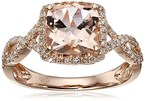 14k Rose Gold Morganite and Diamond Cushion Infinity Ring (1/4cttw, H-I Color, I1-I2 Clarity), Size 7 (Infinity Diamond Rings For Women)