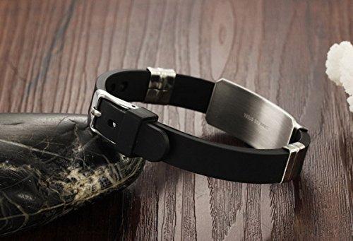Kebaner Mens Womens Silicone Stainless Steel Zodiac 12 Constellation Adjustable Buckle Bracelet Punk Gift