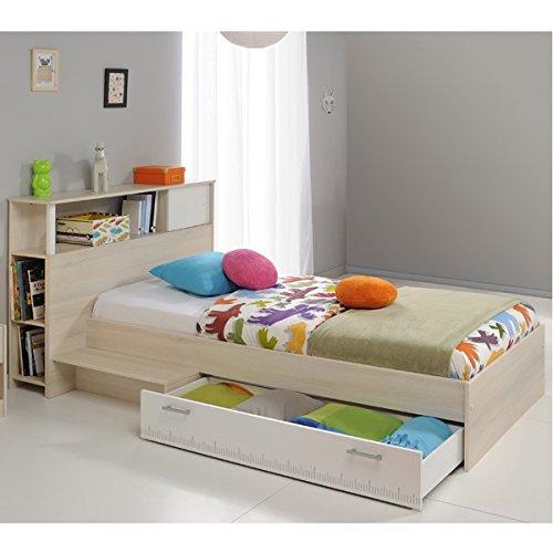 Funktionsbett 90*200 cm grau inkl. Anstellregal Kopfteil + Bettkasten Kinderbett Jugendbett Jugendliege Bettliege Bett Jugendzimmer
