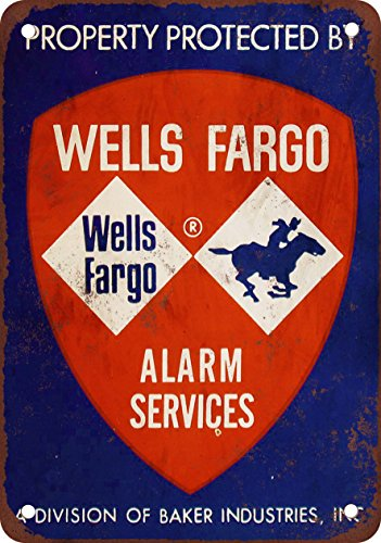 7  X 10  Metal Sign   Property Protected By Wells Fargo   Vintage Look Reproduction