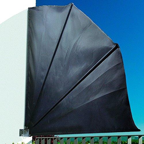 Noor Balkonfächer Polyester, Schwarz, 140 x 140 cm