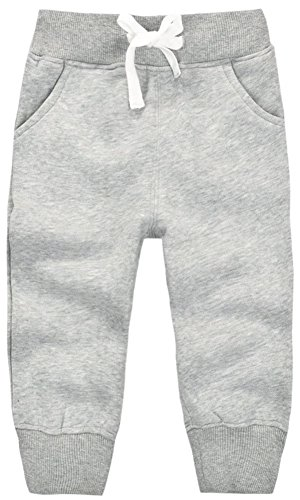 Pant Baby Girls Loungewear Infant (Mom's care Unisex Kids Fleece Sports Jogger Pants For Toddler Baby, Little Girls, Little Boys Grey, 17-22 Months(2T) = Tag 24M)