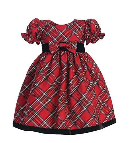 Lito Girls Plaid Holiday Dress with Velvet Trim