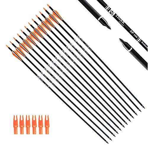 Flecha 30inch carbon con puntas removible x 12 -Orange White