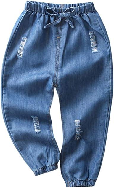 Toddler Kids Baby Boy Girl Clothes Cartoon Elastic Waist Pocket Pants Trousers