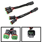 iJDMTOY (2) Y-Shape Dual Outputs Deutsch DT DTP Adapters Connectors Splitters, Good For Dual LED Pod Lights, LED Light Bar, LED Work Lamps, Fog Lights, etc