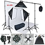 Linco Lincostore 2400 Watt Photo Studio Lighting 10x20ft White Backdrop Photography Background Stand Light Kit AM144-W