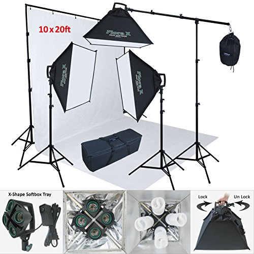 Linco Lincostore 2400 Watt Photo Studio Lighting 10x20ft White Backdrop Photography Background Stand Light Kit AM144-W by Linco (Image #9)