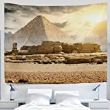ALAZA African Egyptian Giza Pyramid Palm Tree Camel Desert Clouds Landscape Tapestry Wall Hanging Artwork Light-weight Polyester Fabric Cottage Dorm Wall Art Home Decoration 60x40 Inches Golden