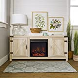 New 58 Inch Barn Door Fireplace Television Stand – White Oak Color