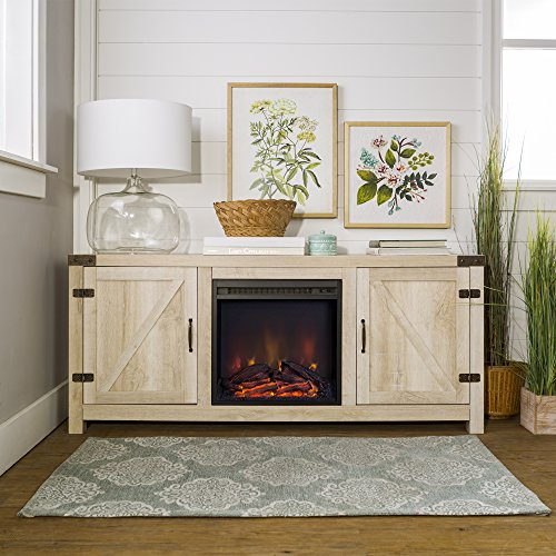 Home Accent Furnishings New 58 Inch Barn Door Fireplace Television Stand - White Oak Color
