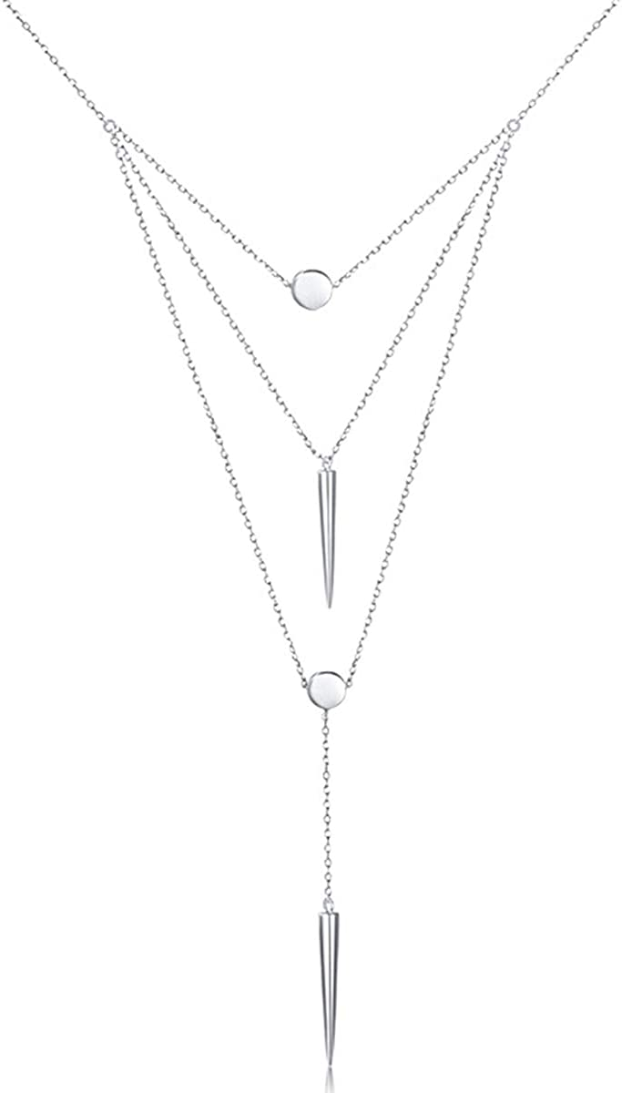 DAOCHONG Lariat Colliers pour Femmes S925 Argent Sterling Multicouche Couches Bar Coin Triple Cha/îne Pendentif Collier Infinity Choker Collier pour Femmes
