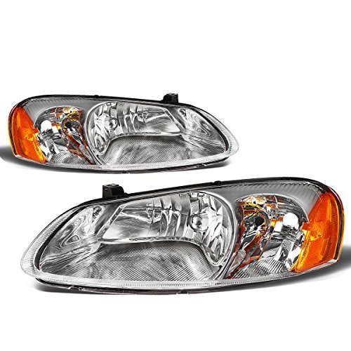 Dodge Headlight Sedan Stratus (For Chrysler Sebring/Stratus Pair of Chrome Housing Amber Corner Headlight Replacement)
