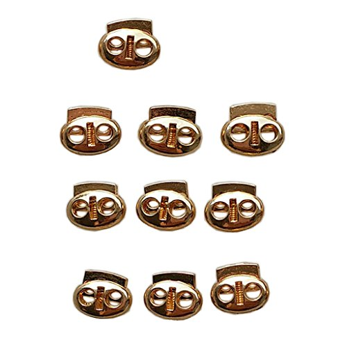 Baoblaze 10 Pieces Double Hole Pumpkin Cord Lock Plastic Spring Stop Toggle Stoppers Gold
