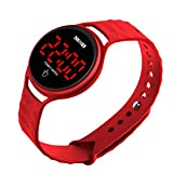 Men Women Digital Sport Running Watch Simple Outdoor Casual Waterproof Electronic Watches with Touch Screen LED Wristwatch Calendar Date - Red