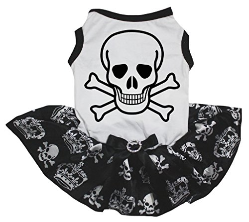 Petitebella Cross Bone White Shirt Black Skulls Crowns Tutu Puppy Dog Dress (Medium)