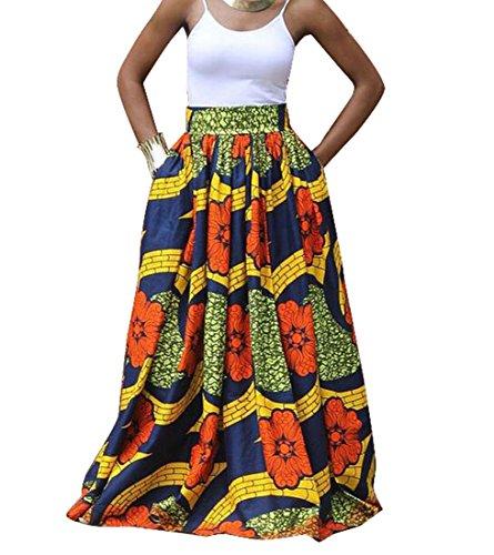 OULIU Womens African Printed Maxi Skirt High Waist A Line Dress Red L