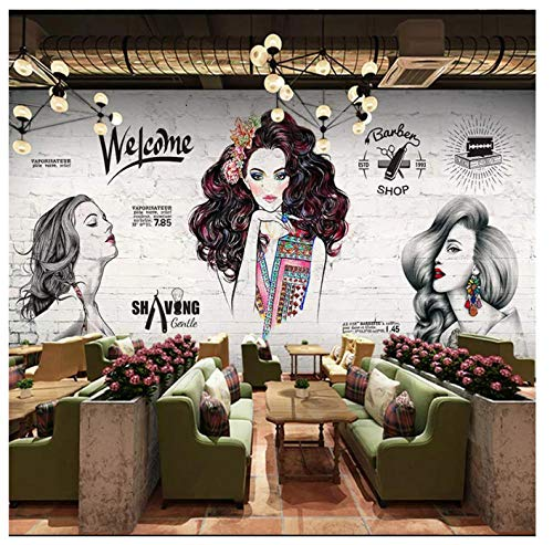 Vintage Barber Shop Mural Wallpaper Hair Salon Wall Wall Background Wall Paper 3D A@200140