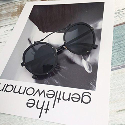 De Black De Gafas Sol Gafas Redondas Personalidad Swag Misma De Sol con Remaches Black La dvOqpvrw