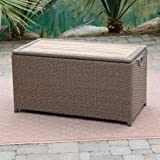 Deck Box Patio Storage, W/Acacia Top, Resin Wicker, Light Brown