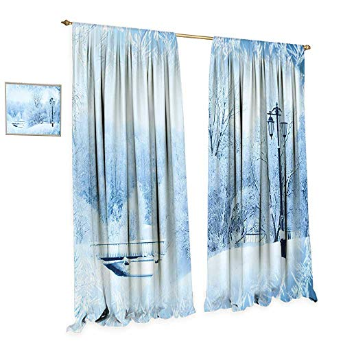 cobeDecor Winter Patterned Drape for Glass Door Winter Trees in Wonderland Theme Christmas New Year Scenery Freezing ICY Weather Waterproof Window Curtain W108 x L96