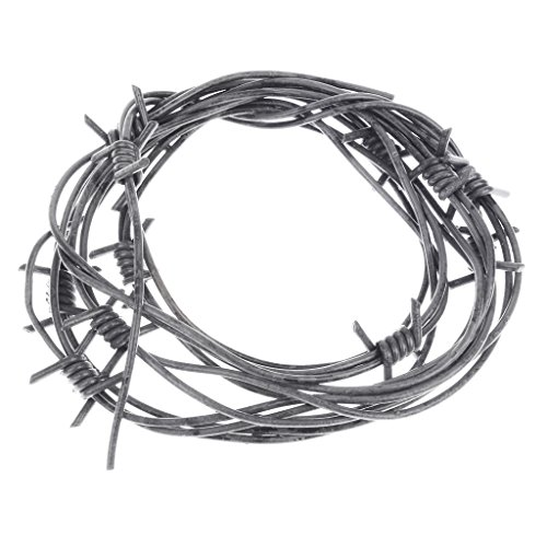 (Nicky Bigs Novelties 8' Fake Silver Barbed Barb Wire Halloween Decoration Wire Prop Gray)