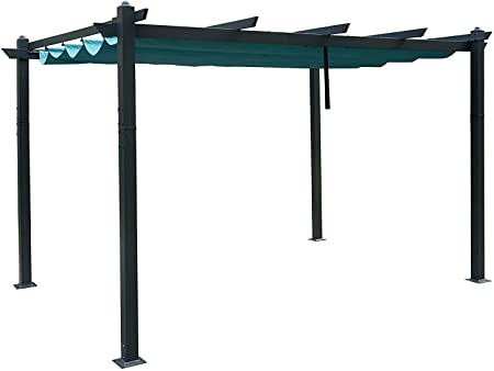 Kozyard Atlantics Outdoor 10x13 Extra Large BBQ Grill Pergola with Sun Shade Gazebo Canopy Beige Canopy,UV Resistant Fabric,