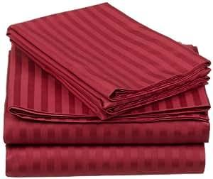 Único ply- 550-thread-count algodón egipcio cama juego de sábanas 21pulgada Extra profundo bolsillo matrimonio pequeña, rojo diseño de rayas, 550TC 100% algodón juego de cama