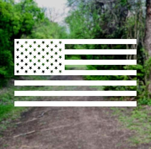 American Flag USA [Pick Any Color] Vinyl Transfer Sticker Decal for Laptop/Car/Truck/Jeep/Window/Bumper (Small (5in x 2.8in), White)