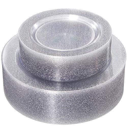 (WDF 120PCS Silver Plastic Plates- Disposable Silver Glitter Plates, Premium Heavy Duty 60-10.25