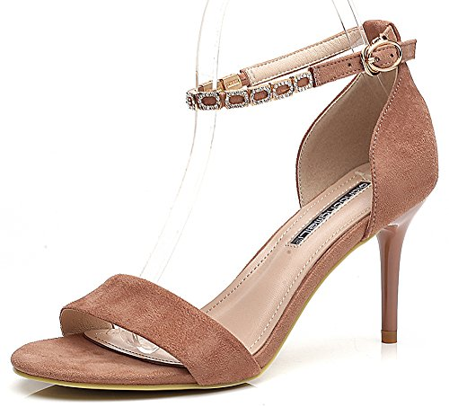 IDIFU Women Elegant Rhinestones Open Toe High Stiletto Heels Ankle Strap Sandals Shoes Pink