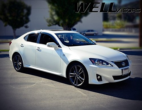 WellVisors Side Rain Guard Window Visors Deflectors With Chrome Trim For 06-12 Lexus IS250 & IS350 & ISF 2006 2007 2008 2009 2010 2011 2012 06 07 08 09 10 11 12 IS 250 350 F IS-F