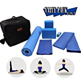 CHENGHONG YOGA Complete Yoga Kit Set, 6-Piece Accessories Set - 1 Foldable Yoga Exercise Mat, 2 Yoga Blocks, 1 Yoga Mat & Hand Towel, 1 Yoga Strap and 1 Carry Case, Perfect Gift for Yogis