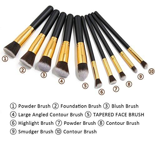 Amazon.com: Belleza herramienta Pincel eDealMax 10 piezas de cosméticos Fundación mezcla Blush Delineador de ojos del maquillaje del polvo de cara: Health ...