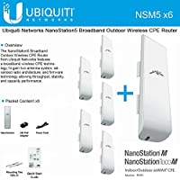 Ubiquiti NSM5 Bundle of 6 NanoStation M5 5GHz Outdoor airMAX CPE 150+Mbps 15+km