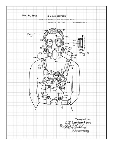 "Breathing Apparatus for Use Under Water Patent Print Art Poster Black Grid (5"" x 7"") M14254"