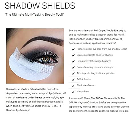 16e10e77412 Amazon.com: Shadow Shields by Michelle Villanueva - 30 Count Box (1 Pack) |  The Original Makeup Protection Shield. Be Fearless. Be Flawless. Be  Smudge-Free.