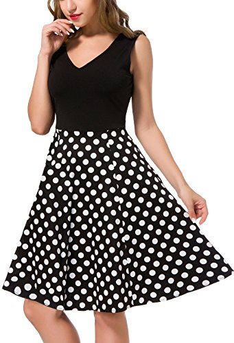 MOUEEY Women's Casual Flare Floral Dresses V Neck Sleeveless Party Mini Dress B Polkadot L (Dot Dress Polka Floral)