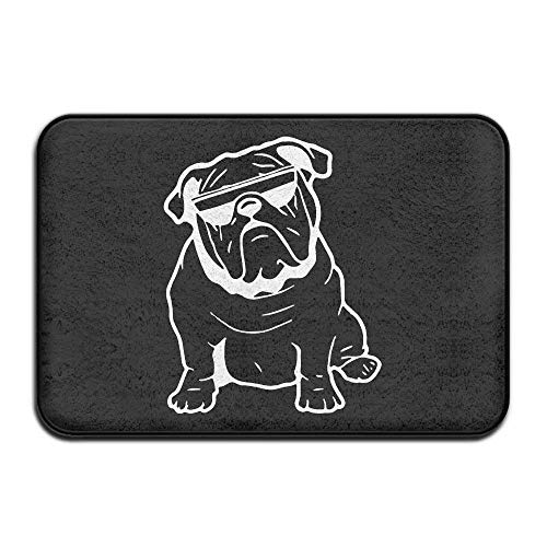 Koperororo Bulldog Sunglasses Non-Slip Indoor/Outdoor Door Mat Rug Health Wellness Offices Bathroom Doormat 23.6inchx 15.7inch