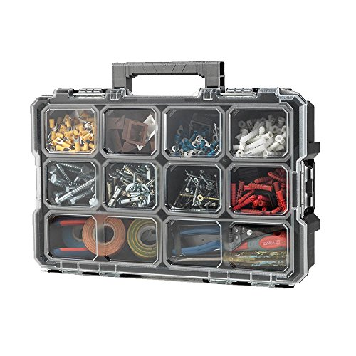 Husky 10-Compartment Interlocking Small Parts Organizer Black