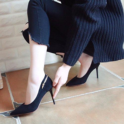 ZHUDJ Frühjahr Schuhe High Heel Schuhe Thin Ferse Flach Flach Schuhe Schwarz Dünne Schuh Frau black