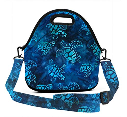 Premium Neoprene Watercolor Blue Sea Turtle Lunchbox women